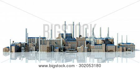 Old Industrial Buildings With Reflection 3d Rendering Image On White