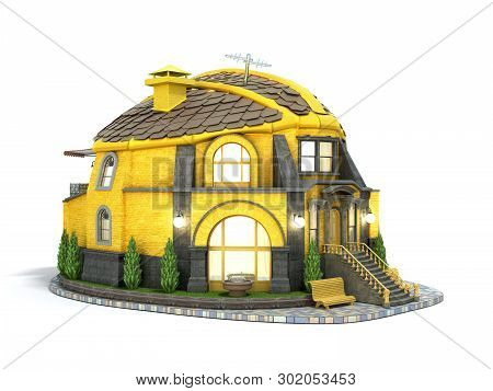 Construction Concept House In The Form Of A Construction Helmet 3d Render On White