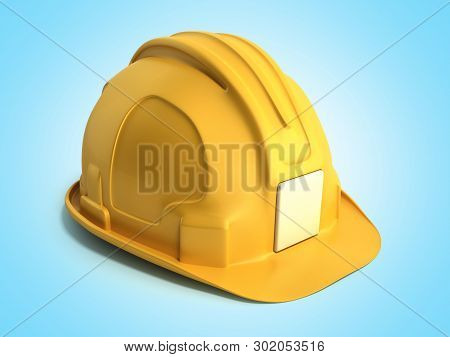 Hard Hat Background Construction Tools 3d Render On Blue Gradient