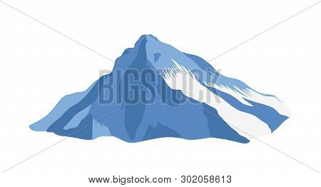 Mountain Ridge With Top Or Summit Covered With Ice Isolated On White Background. Cliff Or Mount For
