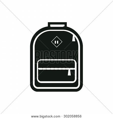 Monochrome Silhouette Of Backpack Icon. Stylized Simplified Symbol Of Rucksack. Knapsack. Schoolbag.