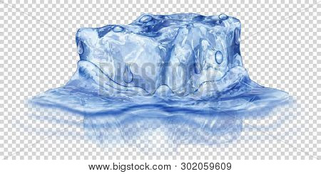 One Big Realistic Translucent Ice Cube In Blue Color Half Submerged In Water. Isolated On Transparen