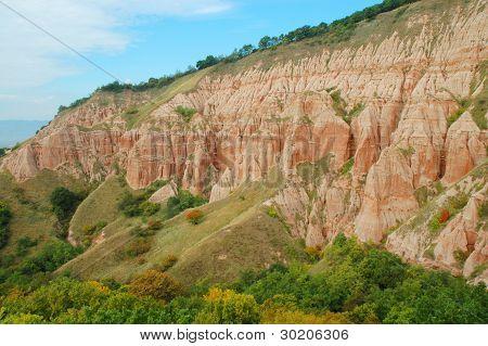 Erosional landscape in Rapa Rosie, Romania