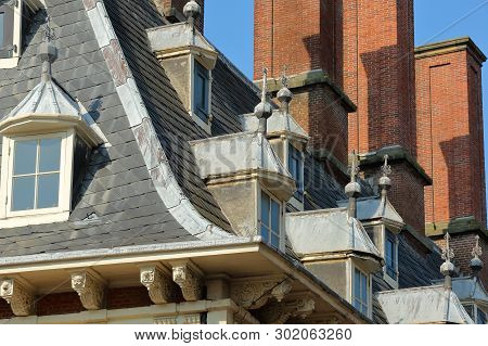 Close-up On The Roof Of The Town Hall (stadhuis), Haarlem, Netherlands, With Details Of Carvings