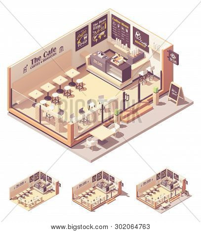 Vector Isometric Coffee Shop Or Coffeehouse. Cafe Interior With Tables, Seats, Counter, Cash Registe