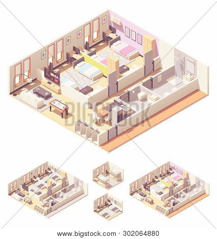 Vector Isometric Dormitory Or Dorm Room Interior Cross-section With Beds, Bathroom, Shower Cabin And