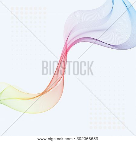Abstract Vector Background, Blue And Green Waved Lines For Brochure, Website, Flyer Design. Transpar