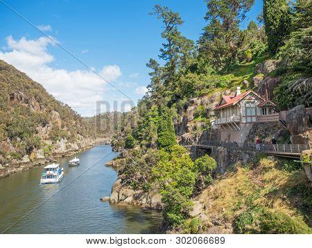 Two Pleasure Cruise Boats In Cataract Gorge, In The South Esk River In Launceston, Tasmania, Austral
