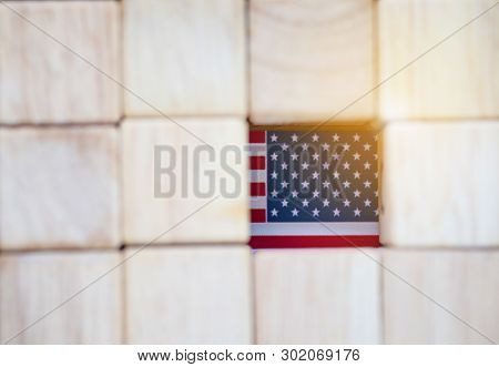 Usa Flag With Wooden Cube. United States Of America Is Sign Of Democracy And Freedom.