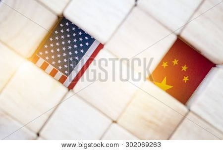 Usa Flag And China Flag With Wooden Cube Which It Is Tariff Trade War Between United States And Chin