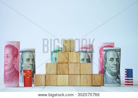 Usa Flag And China Flag With Dollar And Yuan  For Tariff Trade War Between United States And China W