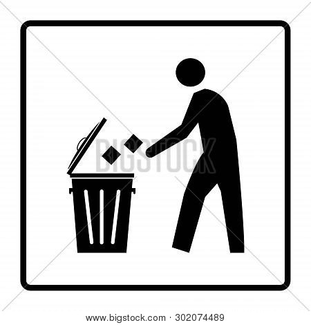 Dispose Trash Icon. Rubbish Bin Sign. Dustbin Symbol Drawing By Illustration