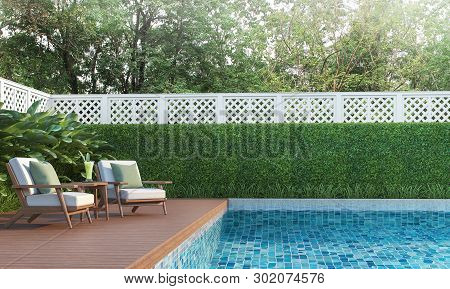 Swimming Pool Terrace In The Garden 3d Render,  There Are A Wooden Floor ,blue Tile In The Swimming