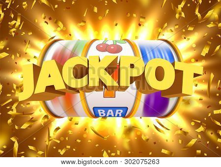 Golden Slot Machine With Flying Golden Confetti Wins The Jackpot. Big Win Concept.