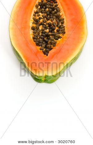 Cut Papaya Fruit Isolated On White Background