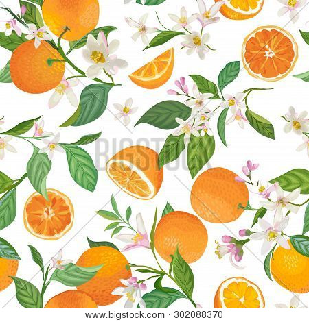 Seamless Orange Pattern With Tropic Fruits, Leaves, Flowers Background. Hand Drawn Vector Illustrati