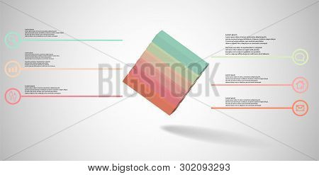 3D Illustration Infographic Template With Embossed Cube Askew Arranged Divided To Six Parts