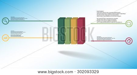 3D Illustration Infographic Template With Embossed Cube Vertically Divided To Four Parts