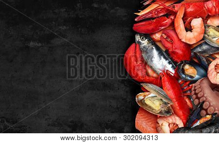 Seafood Background And Fresh Shellfish Food As Lobster Steamed Clams Mussels Shrimp And Crab Sardine