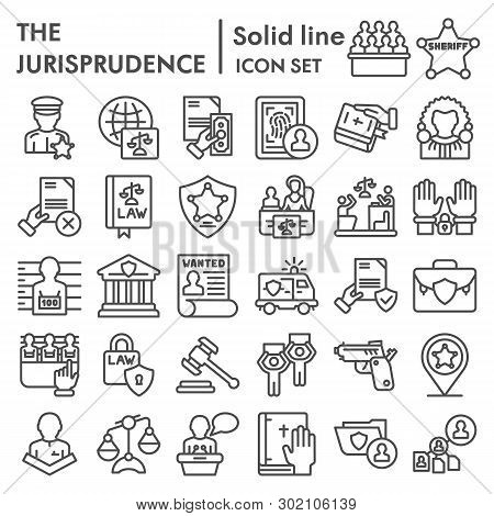 Jurisprudence Line Icon Set, Lawsymbols Collection, Vector Sketches, Logo Illustrations, Court Signs