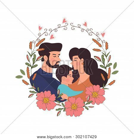 Father And Mother And Their Son Hugging. Mother's Day Card About Mother's Love And Care. Vector Illu