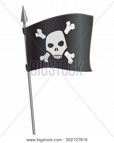 Cartoon Vector Black Pirate Flag With Skull On Metal Spire, Isolated On White