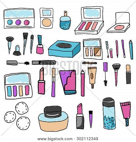 Make Up Set. Tools And Cosmetic. Eyeshadows, Lipstick, Foundation And Other Icons In Hand Drawn Quir
