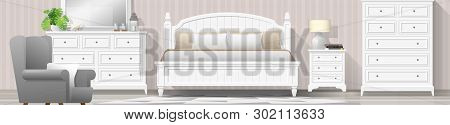 Interior Background With Bedroom In Modern Country Style , Vector , Illustration