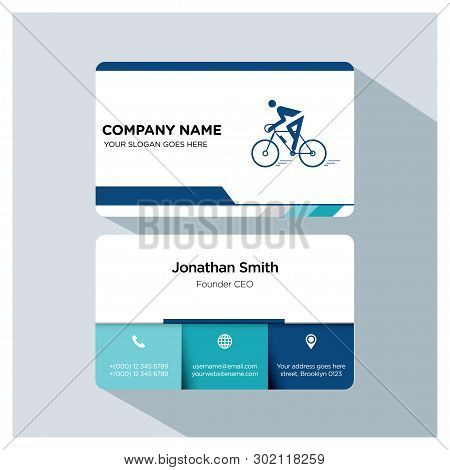Biking, Cycling Player, Trainer Business Card Template Set, White Blue, Grey Font, Shadow, With Comp