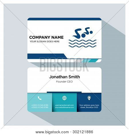 Swimming, Swimmer,  Trainer Business Card Template Set, White Blue, Grey Font, Shadow, With Company