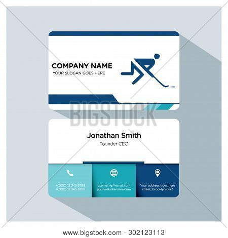 Hockey Player, Trainer Business Card Template Set, White Blue, Grey Font, Shadow, With Company Name,