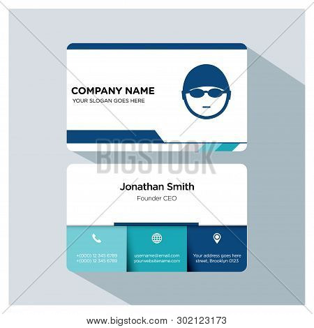 Swimming, Swimmer, Trainer Business Card Template Set, White Blue, Grey Font, Shadow, With Company N