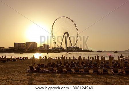 Sandy Beach During Sunset In The Area Of Dubai Marina