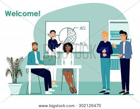 Familiarity With The Team Vector Icon. Team Work Concept Illustration. Workers Realistic Style Desig