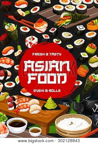 Sushi Japanese Bar And Asian Restaurant Menu, Vector Japan Food Fish Sushi And Seafood Rolls Lunch W