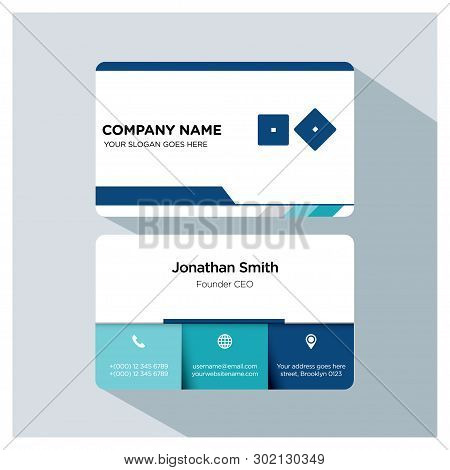 Backgammon Dice Player, Trainer Business Card Template, White Blue, Grey Font, Shadow, With Company