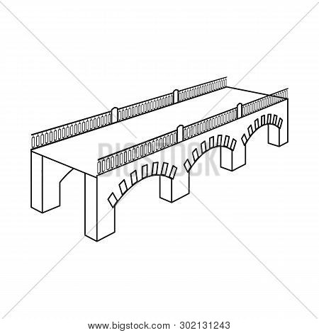 Vector Illustration Of Bridge And Relocation Icon. Collection Of Bridge And Column Vector Icon For S