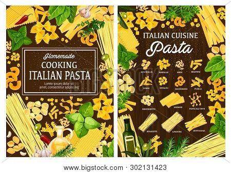 Italian Cuisine Pasta Cooking Ingredients And Spices. Vector Italian Homemade Pasta Conchiglie, Farf
