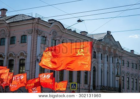 Saint Petersburg - May 2019: Communist Party Of The Russian Federation Flag In Political Parade In R