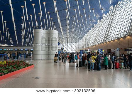 Shanghai, China - January 2019: Shanghai Pudong Airport architecture. Pudong airport is the busiest international hub of China, third busiest by cargo in the world.
