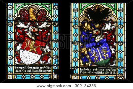 ZAGREB, CROATIA - SEPTEMBER 22: Coat of arms of Count Eltz and Countess Ludvine Pejacevic, stained glass in Zagreb cathedral dedicated to the Assumption of Mary in Zagreb on September 22, 2013.