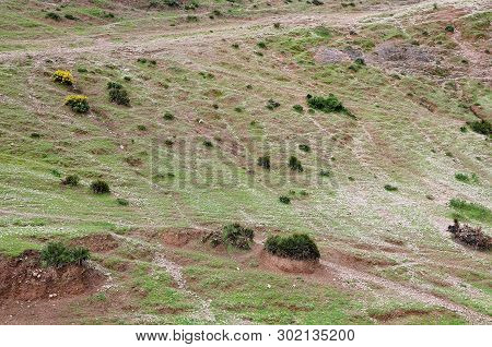Mountain Side In Atlas Mountains; Morocco; With Sparse Vegetation And Rock Detritus