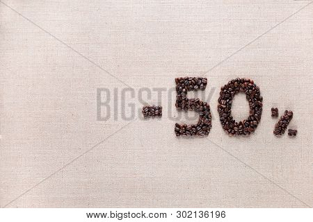 50% Discount From Coffee Beans Aligned Middle Right