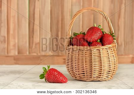 Wicker Basket With Breezy Ripe Berries Side View. Natural Red Sweet Strawberries Fresh Vitamins And