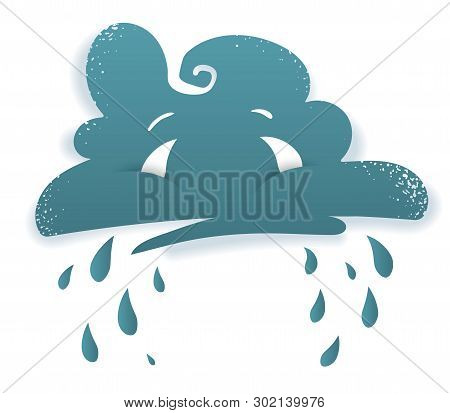 Crying Cloud. Sad Face Of Rainy Storm Cloud With Eyes. Bad Damp Weather Symbol With Drops Of Rain. C