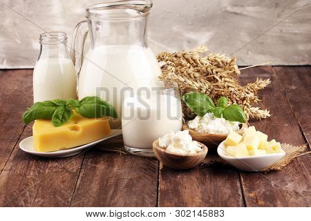 Milk Products - Tasty Healthy Dairy Products And Milk Jar And Cheese
