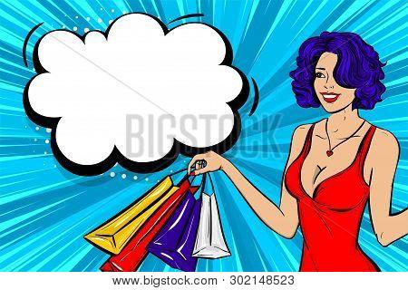 Vintage Pop Art Girl Shopping. Halftone Pattern Comic Book Backdrop. Wow Smiling Face Pop Art Woman.
