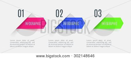 Infographic Arrows With 3 Step Up Options And Glass Elements. Vector Template In Flat Design Style.