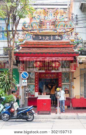 Bangkok, Thailand - April 21st 2011: The Tai Sia Huk Chou Shrine On Rama Iv Road In Chinatown. There