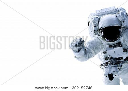 Single Space Astronaut With Black Glas On The Helmet Isolated On White Background With Free Space In